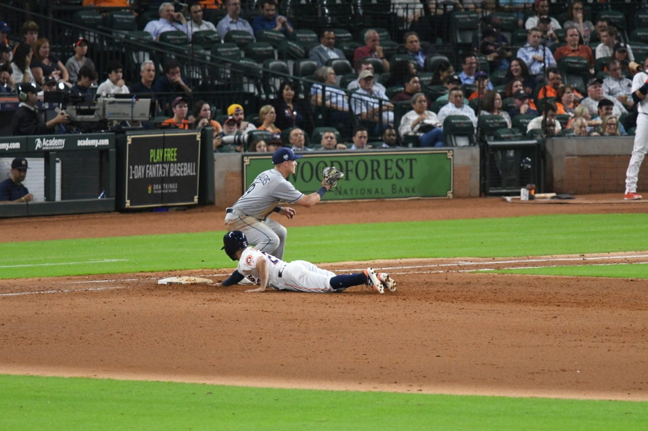 Jose Altuve safe at first